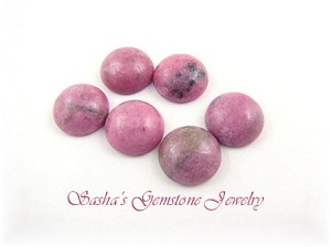10 MM ROUND RHODONITE CABOCHONS - LOT OF 6