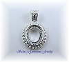 12 X 10 OVAL SILVER PLATED FANCY ROPE CAB PENDANT