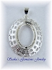 18 X 13 OVAL SILVER PLATED FANCY FILIGREE CAB PENDANT