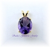 10 X 8 OVAL GENUINE AMETHYST GOLD OVER SILVER PENDANT