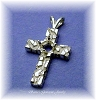 5 MM ROUND STERLING SILVER NUGGET CROSS PENDANT