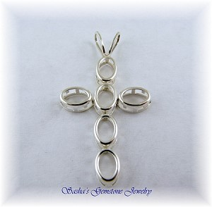 6 X 4 OVAL STERLING SILVER BACKSET CROSS PENDANT