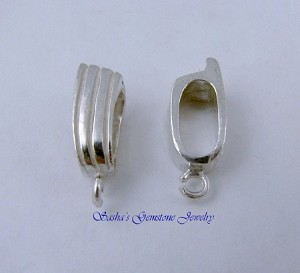 EXTRA LARGE STERLING SILVER RIBBED SLIDER BAIL #4