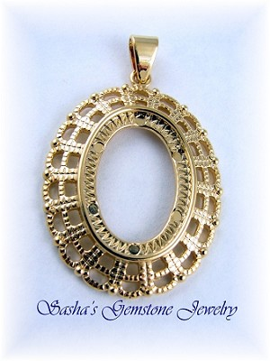 25 X 18 OVAL GOLD PLATED FANCY FILIGREE CAB PENDANT