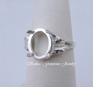 11 X 9 OVAL STERLING SILVER LEAF CABOCHON RING CASTING