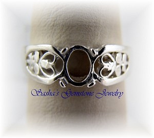 6 X 4 OVAL STERLING SILVER FILIGREE CABOCHON RING