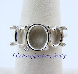 STERLING SILVER TRIPLE CABOCHON RING