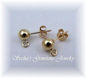 5 MM FULL BALL 14 KT 1/20 GOLD FILLED STUDS WITH OPEN RING