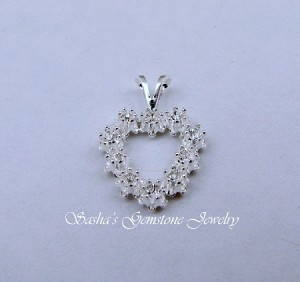 2 MM ROUND STERLING SILVER BUTTERCUP SNAPTITE HEART CLUSTER PENDANT