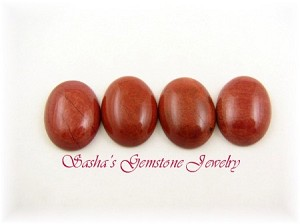 18 X 13 OVAL RED JASPER CABOCHON - LOT OF 4