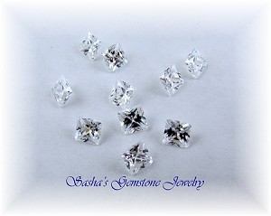 4 MM SQUARE WHITE CZ - GRADE AAAAA - LOT OF 10
