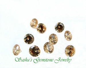 5 MM ROUND CHAMPAGNE CUBIC ZIRCONIA - LOT OF 10