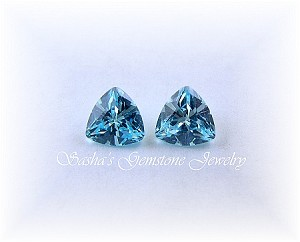 6 MM TRILLION AQUAMARINE CUBIC ZIRCONIA
