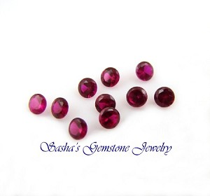 2 MM ROUND LAB CREATED RUBIES - LOT OF 10