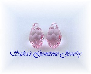 9 X 5 LIGHT ROSE SWAROVSKI CRYSTAL BRIOLETTE PAIR