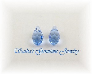 9 X 5 SWAROVSKI CRYSTAL LIGHT BLUE BRIOLETTES