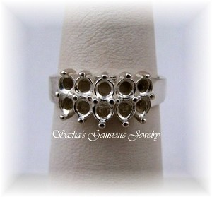 STERLING SILVER STEP CLUSTER RING