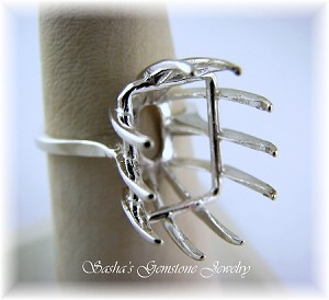 EMERALD CUT STERLING SILVER DEEP WIRE BASKET RING - SERIES 005-860
