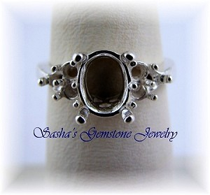 9 X 7 OVAL STERLING SILVER RING SETTING W/(6) 3 RD ACCENTS