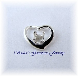 3 MM ROUND STERLING SILVER WEEPING HEART PENDANT
