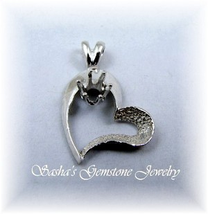 4 MM ROUND STERLING SILVER SEMI-TEXTURED HEART PENDANT