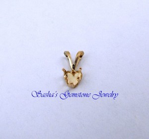 4 MM HEART 14 KT YELLOW GOLD SNAPTITE PENDANT
