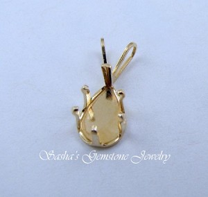 9 X 6 PEAR 14 KT YELLOW GOLD SNAPTITE PENDANT