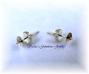 STERLING SILVER PEARL EARRING STUDS - LARGE