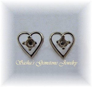 3 MM ROUND STERLING SILVER HEART EARRING STUDS
