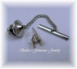 6 MM TRIANGLE/TRILLION STERLING SILVER TIE TACK